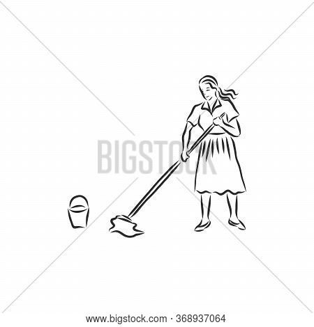 Vector Art Drawing Of Young Woman Cleaning A Room On White Background. Cleaning Lady, Vector Sketch