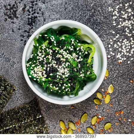 Chuk Seaweed Salad And Sesame Seeds. Chinese Cuisine.