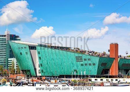 Amsterdam, The Netherlands - May, 2018: Nemo Science Museum Of Amsterdam. Dutch Maritime Museum Near