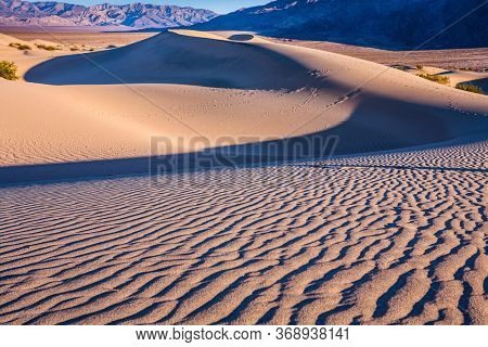 Magical desert morning. Mesquite Flat Sand Dunes - dunes in Death Valley. USA, California. Easily accessible dunes are located along Road 190. The concept of active, extreme and photo tourism