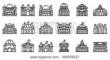 Parliament Icons Set. Outline Set Of Parliament Vector Icons For Web Design Isolated On White Backgr