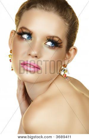 Blond Woman With Fake Eyelashes