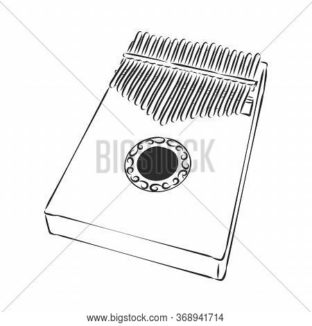Thump Piano Or Kalimba Or Thumb Piano Isolated On White Vector Cartoon Icon Illustration. Kalimba, V