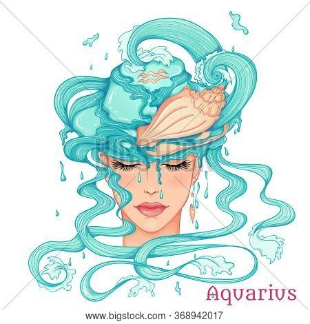Zodiac. Vector Illustration Of The Astrological Sign Of Aquarius As A Beautiful Fashion Girl In Hat.