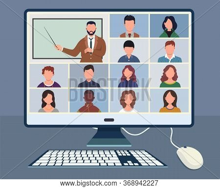 Online Class. Pupils Or Students Studying With Computer At Home. Stay School Learn From Home Via Tel