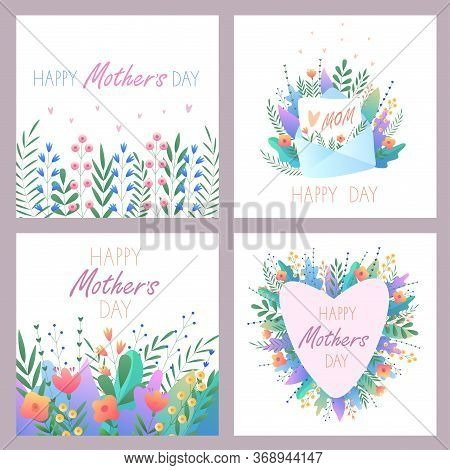 Mother's Day.set Of Greeting Cards. Vector Illustration With Flowers, Hearts,letter And Beautiful Te