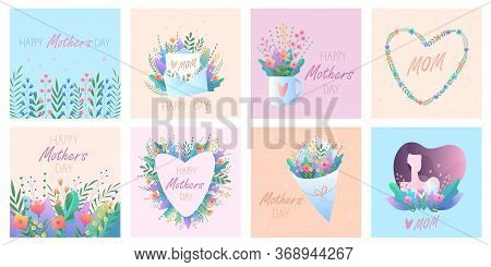 Mothers Day. Set Of Greeting Cards. Vector Illustration With Flowers, Hearts, Mom And Baby, Letter.