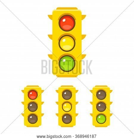 Traffic Light Icon Set With Red, Yellow And Green Light. Vector Clip Art Illustration In Simple Flat