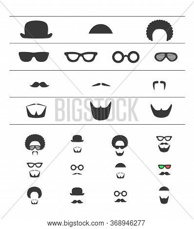 Barber Icon Flat Set. Mustache, Beard, Glasses, Hat, Afro Hair Symbols. Hipster Style, Male Fashion.