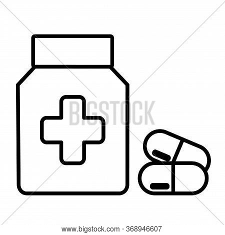 Drugstore. Medicine Bottle And Pills. Medicament Icon. Vector Illustration