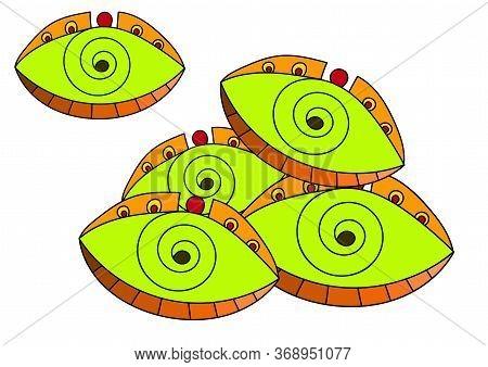 Cartoon Psychedelic Yellow Eyes. Unusual Vector Art
