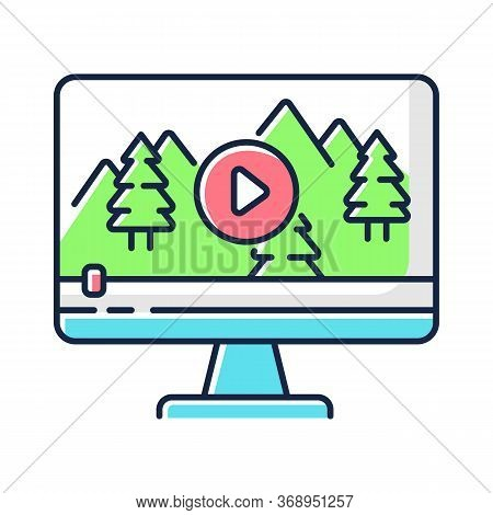 Nature Documentary Rgb Color Icon. Travel Blog Video Watching. Ecology And Tourism Non-fictional Mov