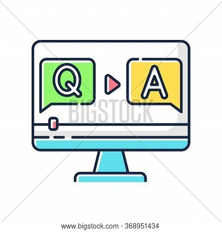 Question And Answer Video Rgb Color Icon. Journalist Interview Footage. Blogger Q And A Stream. Onli