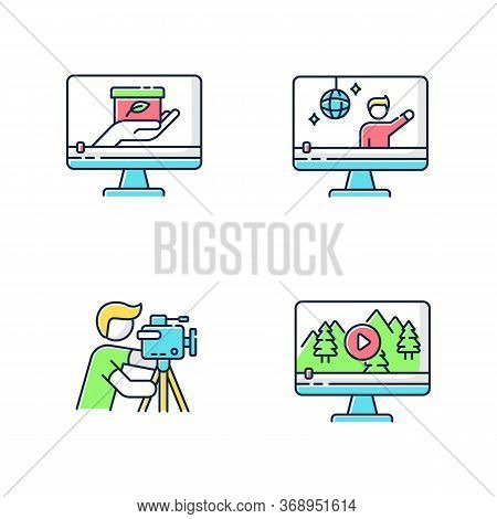 Filmmaking And Videography Rgb Color Icons Set. Concert Streaming. Nature Documentary Movie. Profess