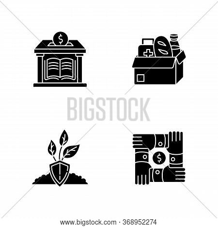 Activism Black Glyph Icons Set On White Space. Donation To Public Library. Humanitarian Aid. Food Ba
