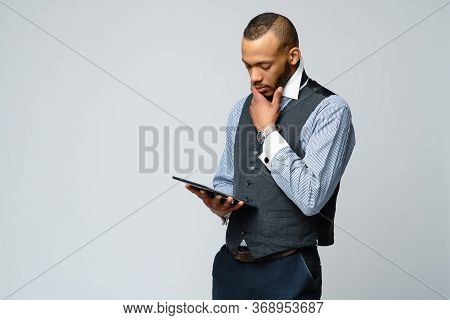 Professional African-american Business Man Holding Tablet Pc