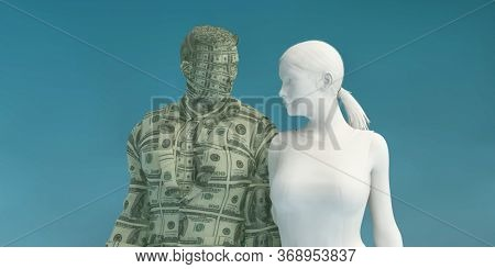 Woman Attracting a Rich Man and Marrying into Wealth 3d Render