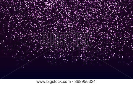 Purple Confetti. Gold Glitter Particles. Glowing Sparkles. Falling Abstract Particles. Shining Purpl
