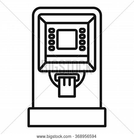 Atm Cash Credit Icon. Outline Atm Cash Credit Vector Icon For Web Design Isolated On White Backgroun