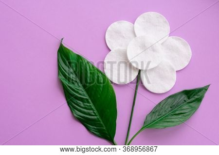 Flower Made Of White Cotton Round Pads And Real Green Vivid Green Leaves On Pink Background. Concept