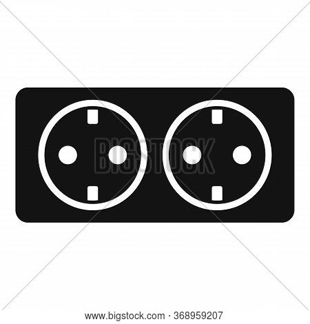 Double Wall Power Socket Icon. Simple Illustration Of Double Wall Power Socket Vector Icon For Web D