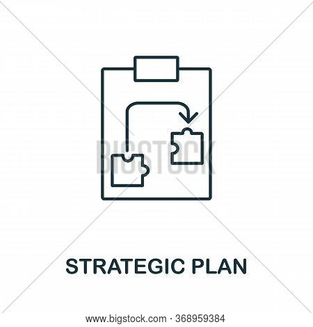 Strategic Plan Icon From Planing Collection. Simple Line Strategic Plan Icon For Templates, Web Desi
