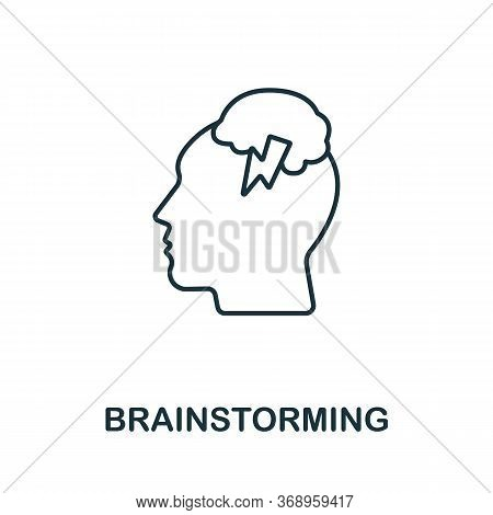 Brainstorming Icon From Planing Collection. Simple Line Brainstorming Icon For Templates, Web Design