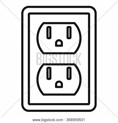 Double Power Socket Icon. Outline Double Power Socket Vector Icon For Web Design Isolated On White B