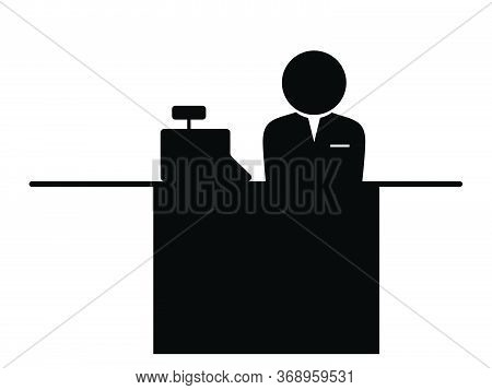 Cashier Icon. Black And White Pictogram Depicting Checkout Counter With Cash Register And Stick Figu