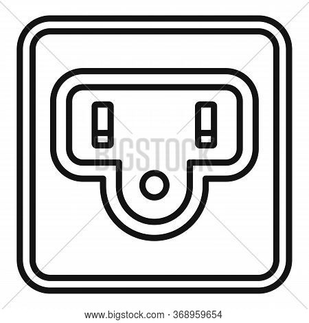 Type B Power Socket Icon. Outline Type B Power Socket Vector Icon For Web Design Isolated On White B