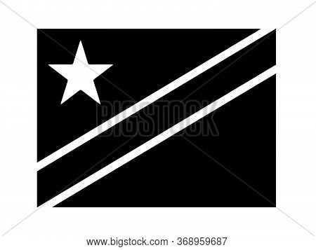 Democratic Republic Of The Congo Flag Black And White. Country National Emblem Banner. Monochrome Gr