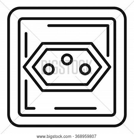 Type J Power Socket Icon. Outline Type J Power Socket Vector Icon For Web Design Isolated On White B