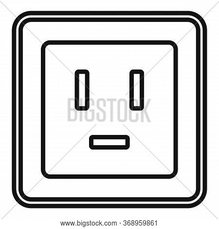 Electric Power Socket Icon. Outline Electric Power Socket Vector Icon For Web Design Isolated On Whi