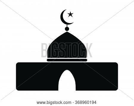 Islamic Mosque Icon. Black And White Pictogram Depicting Simple Muslim Place Of Worship. Eps Vector
