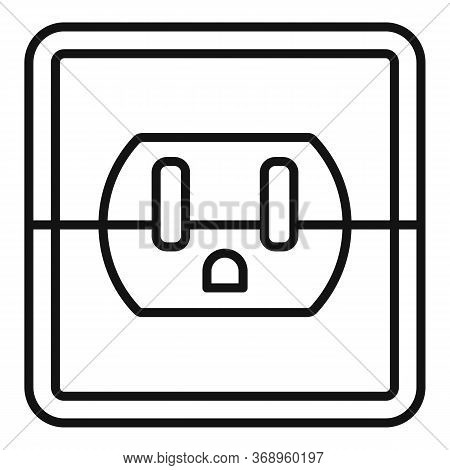 Device Power Socket Icon. Outline Device Power Socket Vector Icon For Web Design Isolated On White B