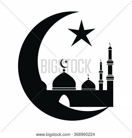 Mosque With Crescent And Star. Black And White Pictogram Depicting Islamic Mosque Place Of Worship.