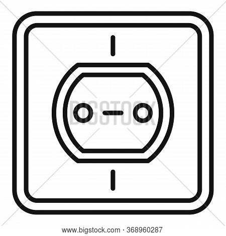 Tech Power Socket Icon. Outline Tech Power Socket Vector Icon For Web Design Isolated On White Backg