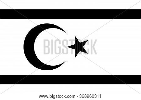 Northern Cyprus Flag Black And White. Country National Emblem Banner. Monochrome Grayscale Eps Vecto
