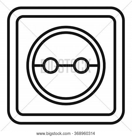 Cable Power Socket Icon. Outline Cable Power Socket Vector Icon For Web Design Isolated On White Bac