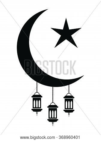 Ramadan Eid Al-fitr Crescent And Star With Lanterns. Pictogram Depicting Islamic Crescent Stars And