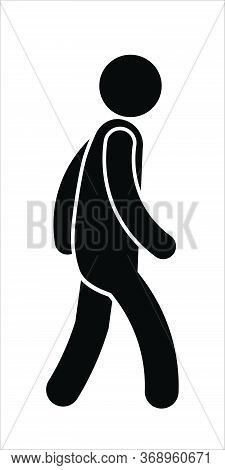 Stick Figure Walking. Pictogram Illustration Depicting A Man Walking Towads The Right. Black And Whi