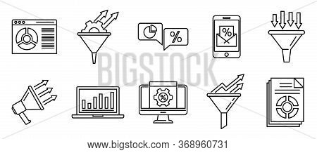 Conversion Rate Marketing Icons Set. Outline Set Of Conversion Rate Marketing Vector Icons For Web D