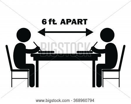 Two Students Studying Writing Desk 6 Ft. Apart. Illustration Depicting Social Distancing During Covi