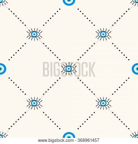 Vector Seamless Geometric Pattern With Evil Eyes Talisman, Protection And Good Luck Symbol. Modern E