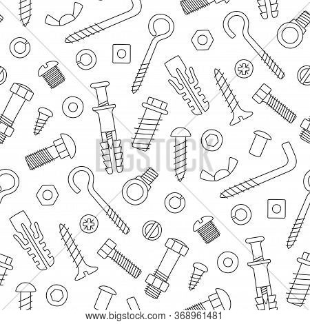 Seamless Pattern Of Fasteners. Bolts, Screws, Nuts, Dowels And Rivets In Doodle Style. Hand Drawn Bu