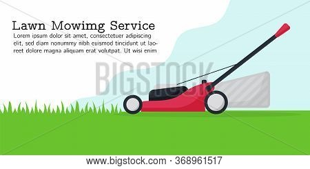 Flat Vector Illustration Of Lawn Mower. Modern Lawnmower Cutting Green Grass. Banner For Landing Pag
