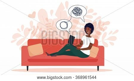 African American Woman Sitting On Sofa With Laptop On Online Psychological Consultation. Concept Of