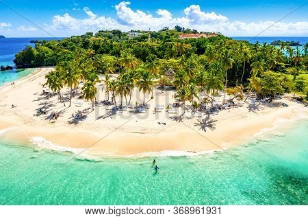 Aerial Drone View Of Beautiful Caribbean Tropical Island Cayo Levantado Beach With Palms. Bacardi Is
