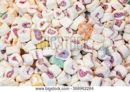 Turkish Delight Lokum As A Background. Candies Pattern