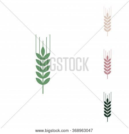 Wheat Sign Illustration. Spike. . Russian Green Icon With Small Jungle Green, Puce And Desert Sand O